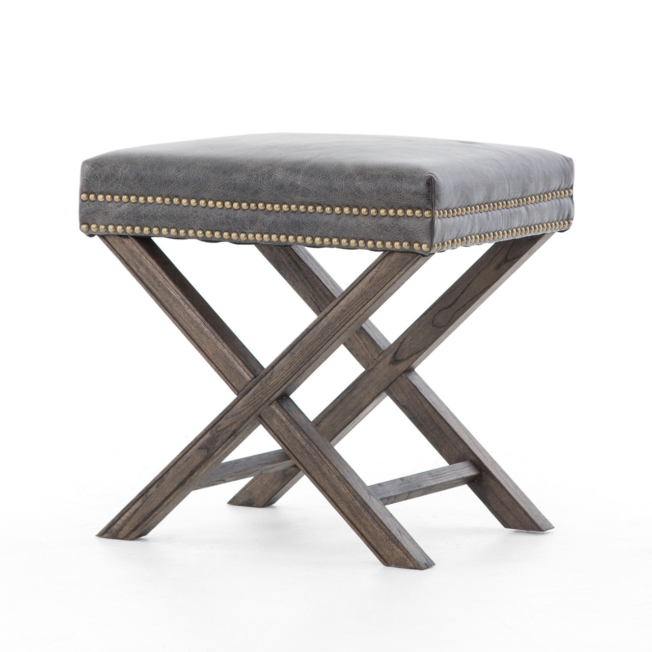 Terrific French Modern X Base Leather Stool Ottoman Beatyapartments Chair Design Images Beatyapartmentscom