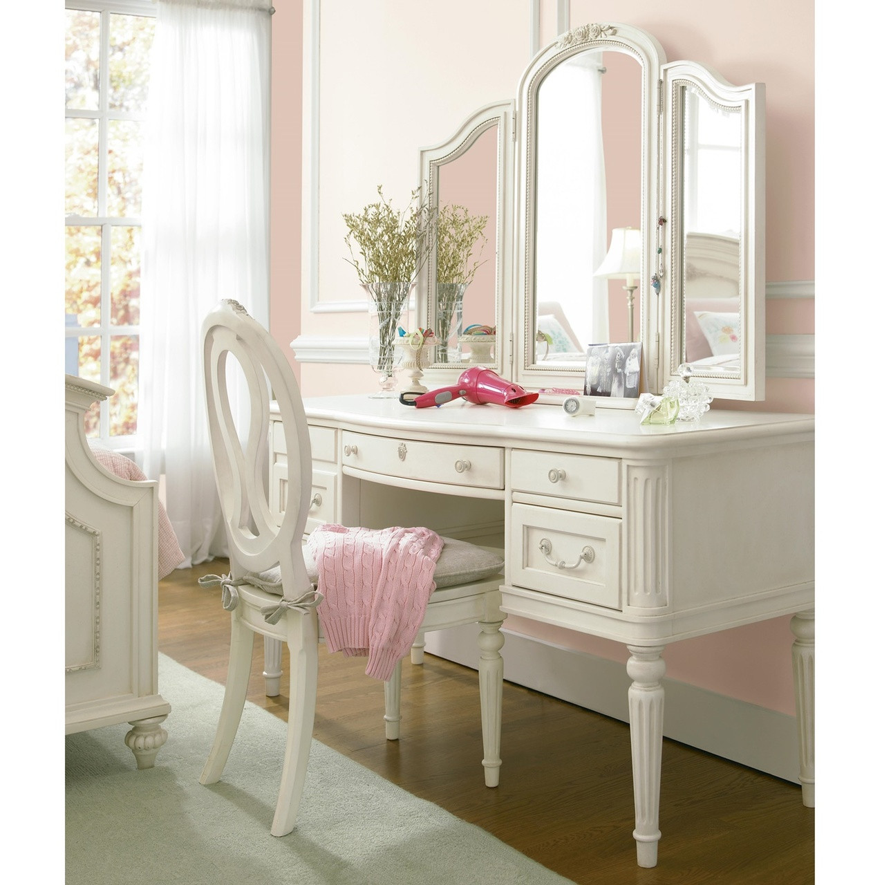 Rosalie Kids Vanity Desk White Zin Home