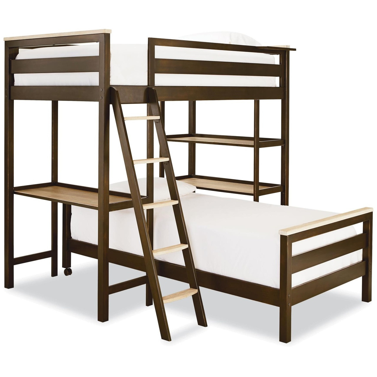 #MyRoom Modern Kids Twin Metal Loft Bunk Bed With Desk