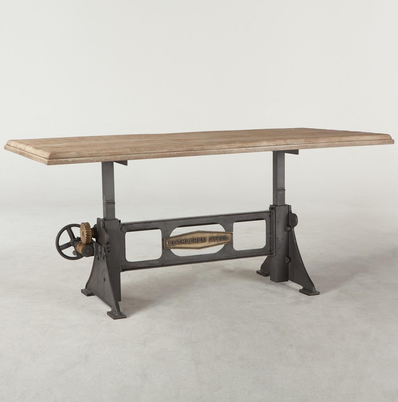 Steampunk Industrial Steel Wood Crank Dining Table 72 Zin Home