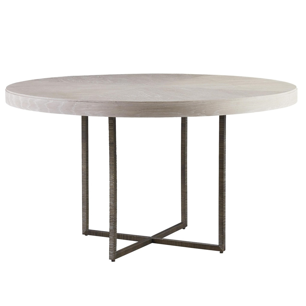 1116cf82b6 Modern Grey Oak Wood + Bronze Metal Leg Round Dining Table 54