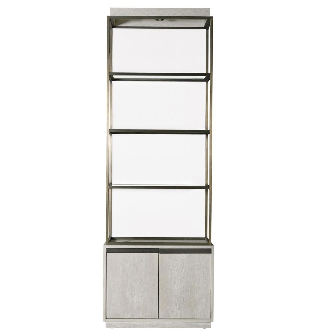 Modern Grey Oak Wood Bronze Metal Etagere Bookcase