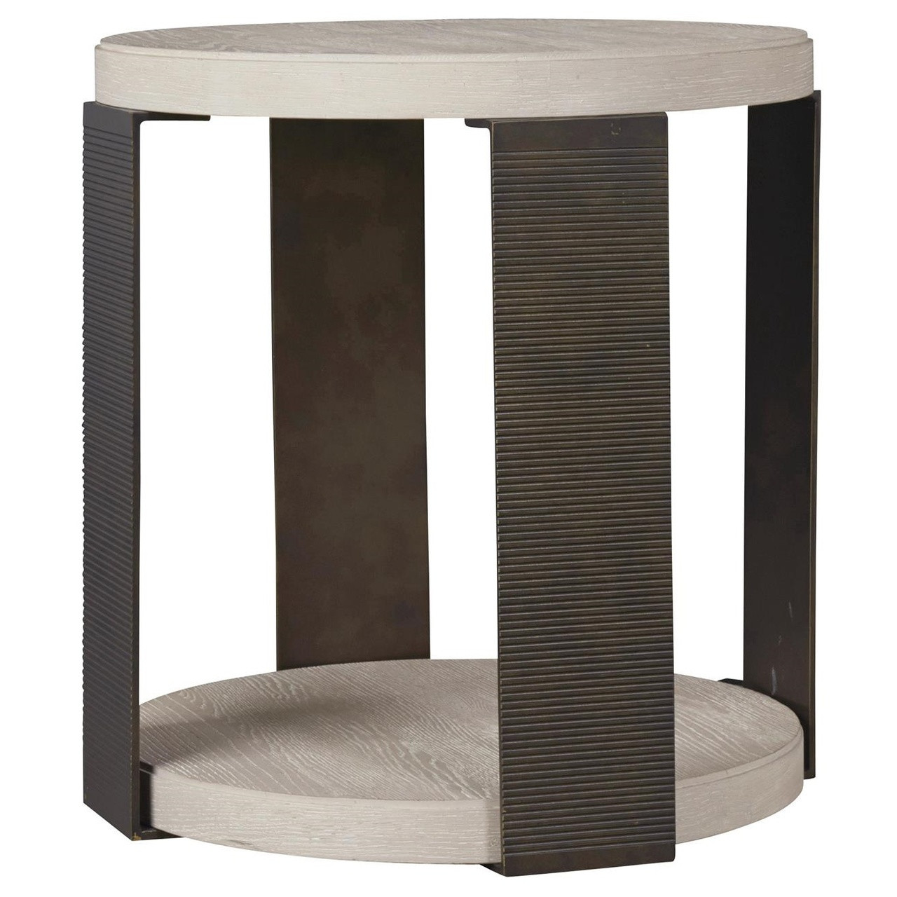 Modern Grey Oak Wood Bronze Metal Round End Table