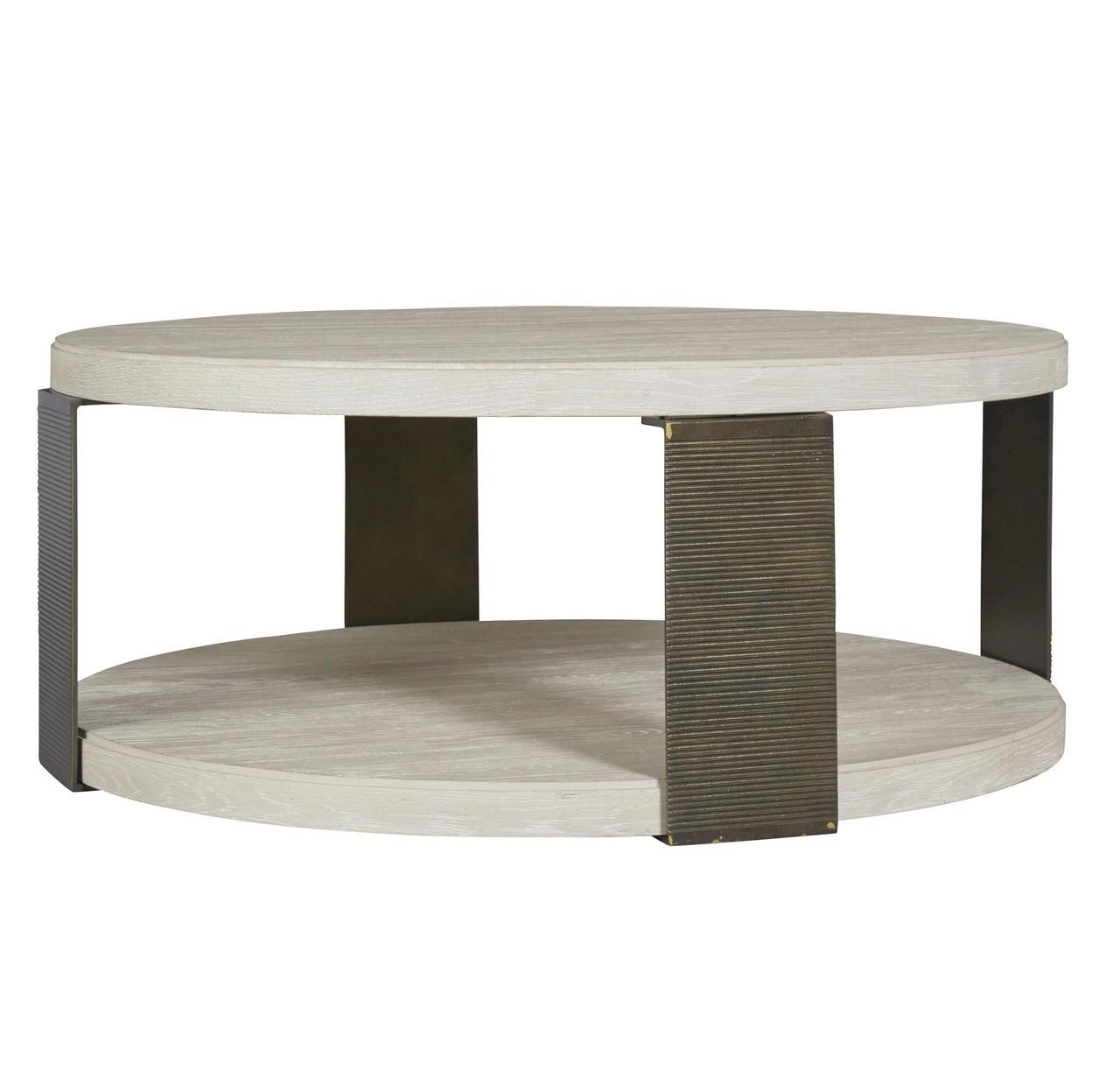 Modern Grey Oak Wood + Bronze Metal Wilder Round Cocktail Table
