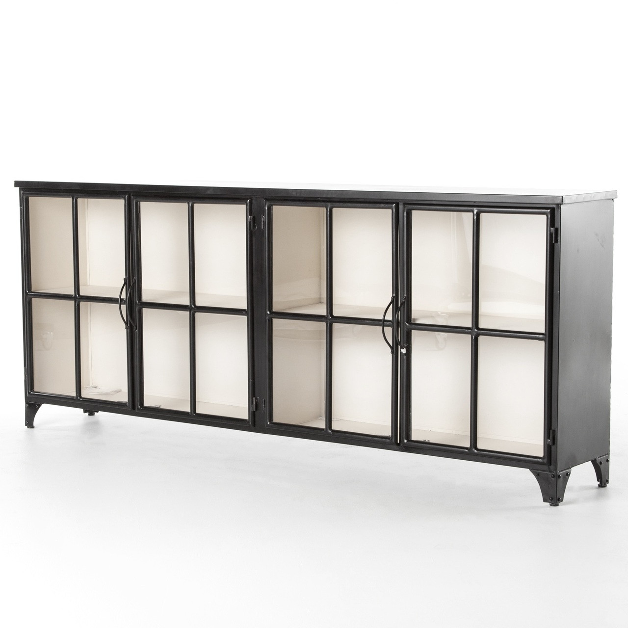 Camila Industrial Black Iron Sideboard With Glass Doors Zin Home