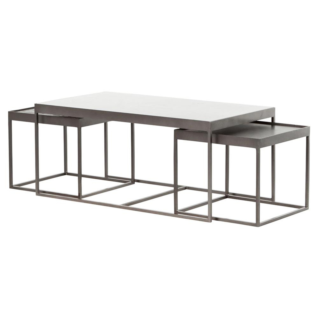 Lyn Industrial Iron And White Marble Nesting Coffee Tables Zin Home