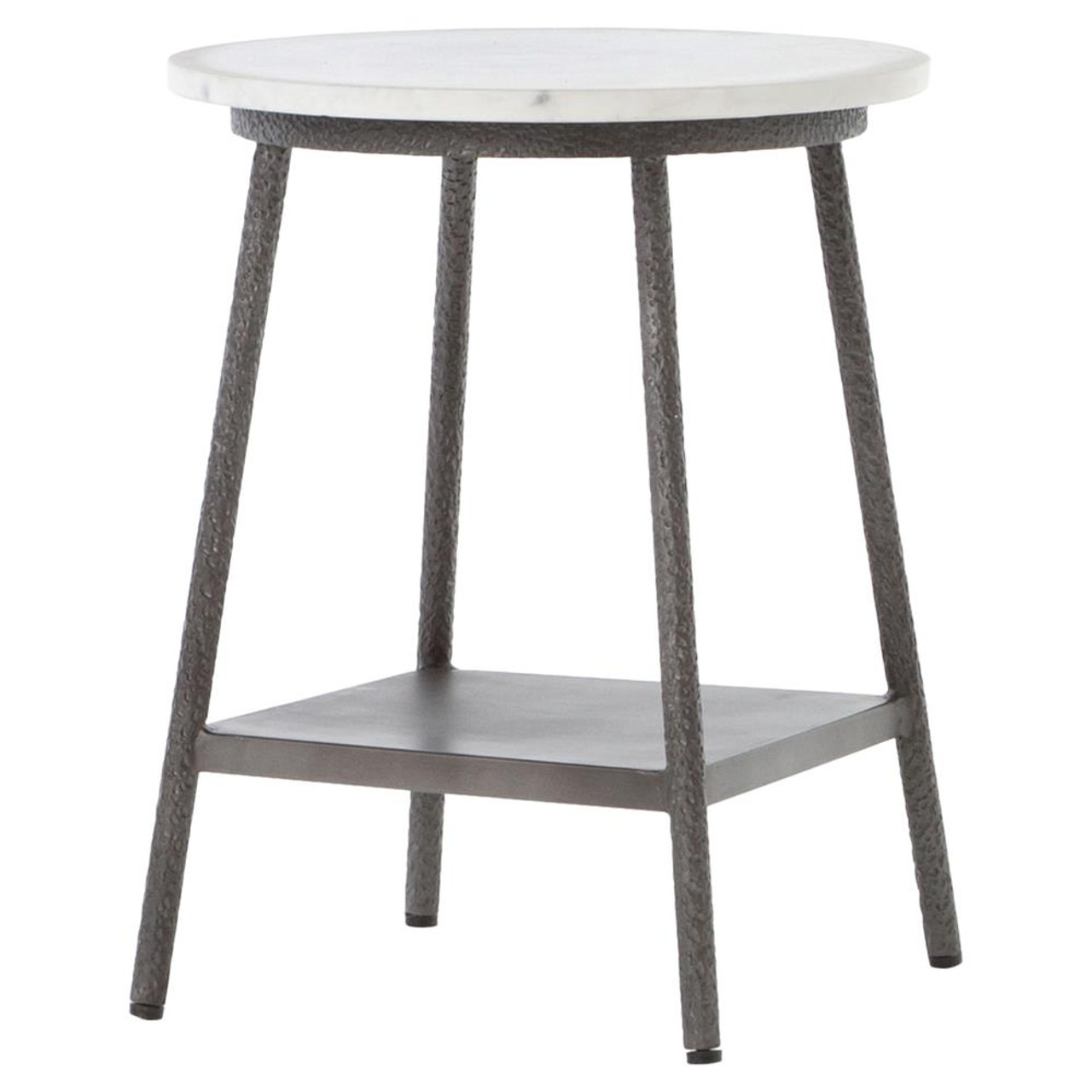 Lark Industrial Iron And White Marble Round Side Table Zin Home