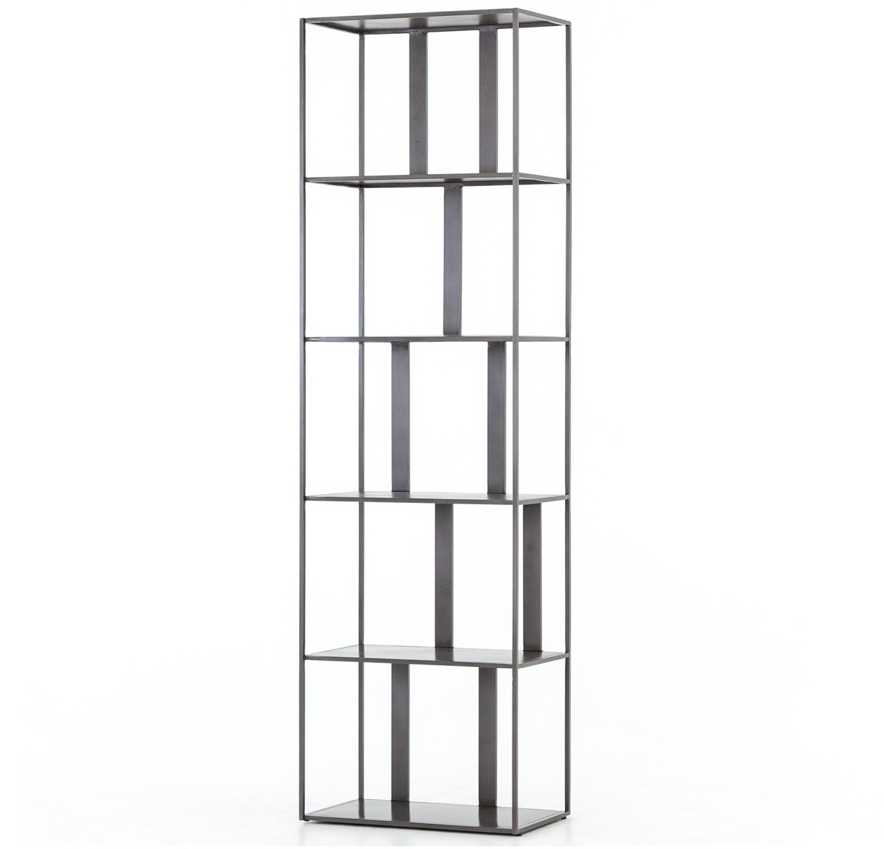 Waterloo Industrial Metal Geometric Narrow Bookshelf