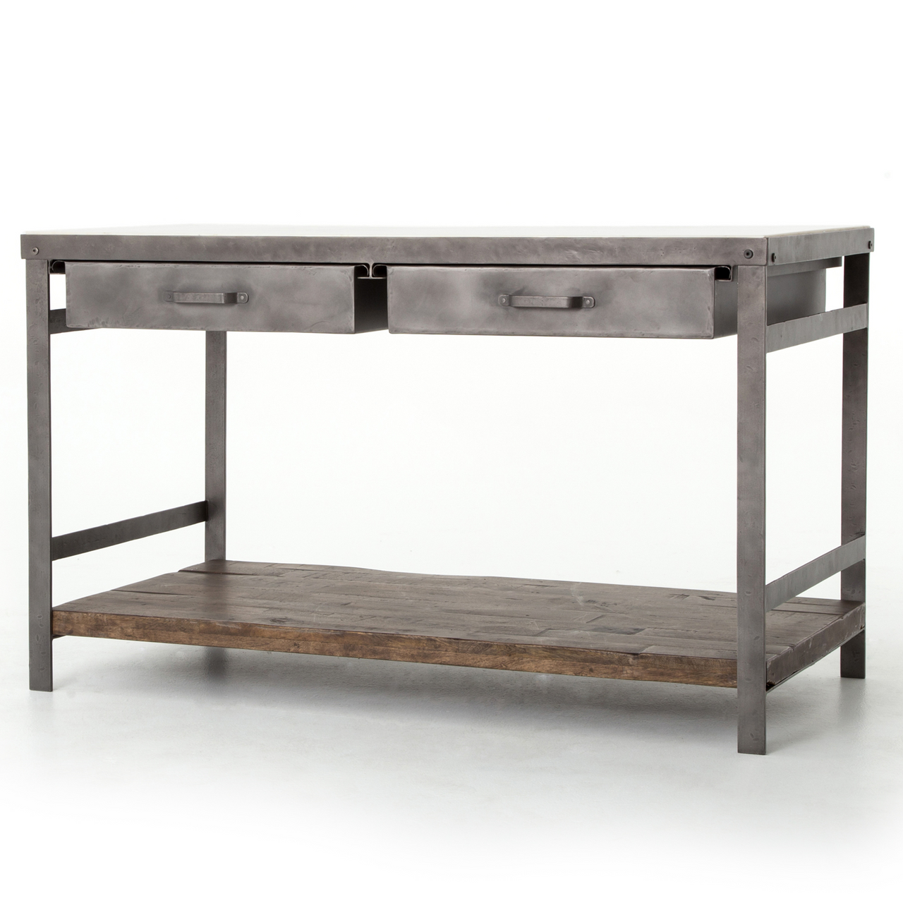 Elliot Modern Industrial White Marble Top Kitchen Island Zin Home
