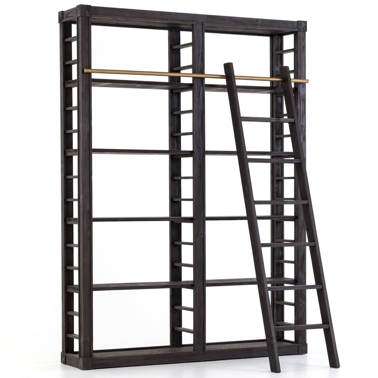 newest 5a34b d54f4 French Modern Reclaimed Wood Library Bookshelf with Ladder