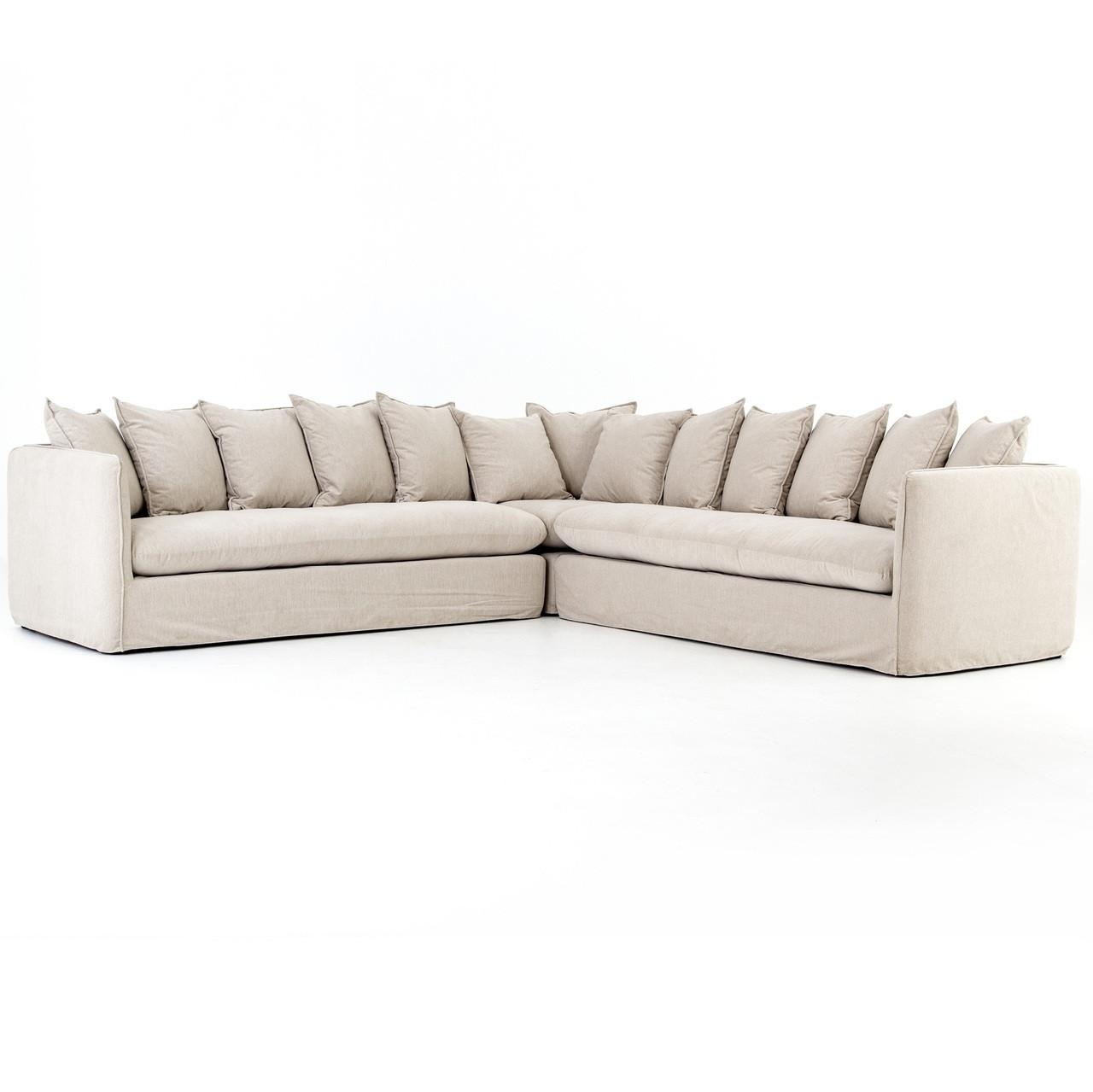 Nora Modern Slipcovered Corner Sectional Sofa - Oatmeal | Zin Home