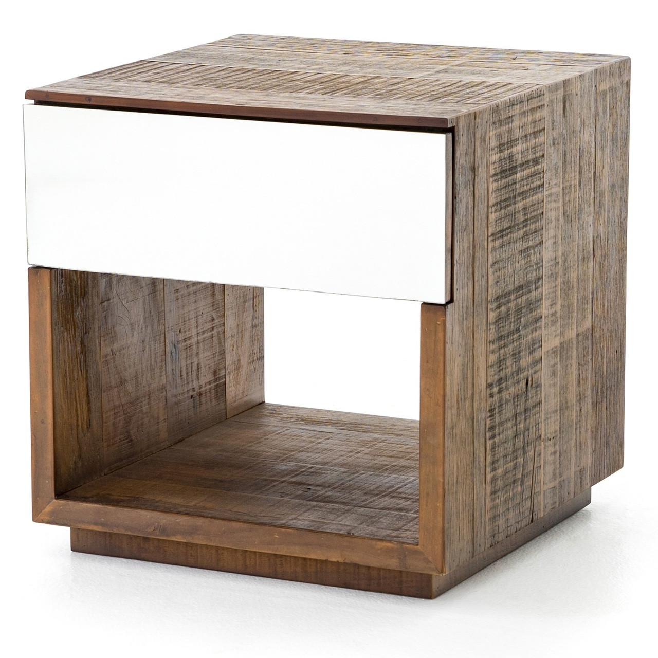 Betty Rustic Wood 1 Mirrored Drawer Side Table