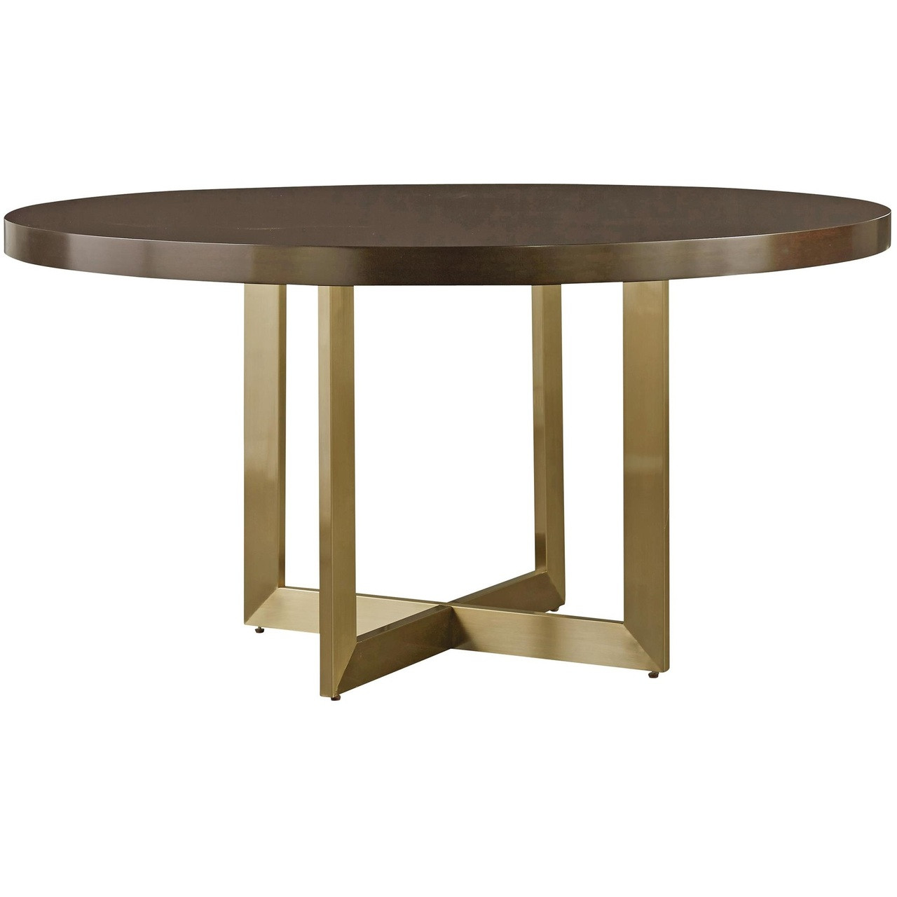 Wood Round Dining Table: Gibson Modern Brushed Gold Round Wood Dining Table 54