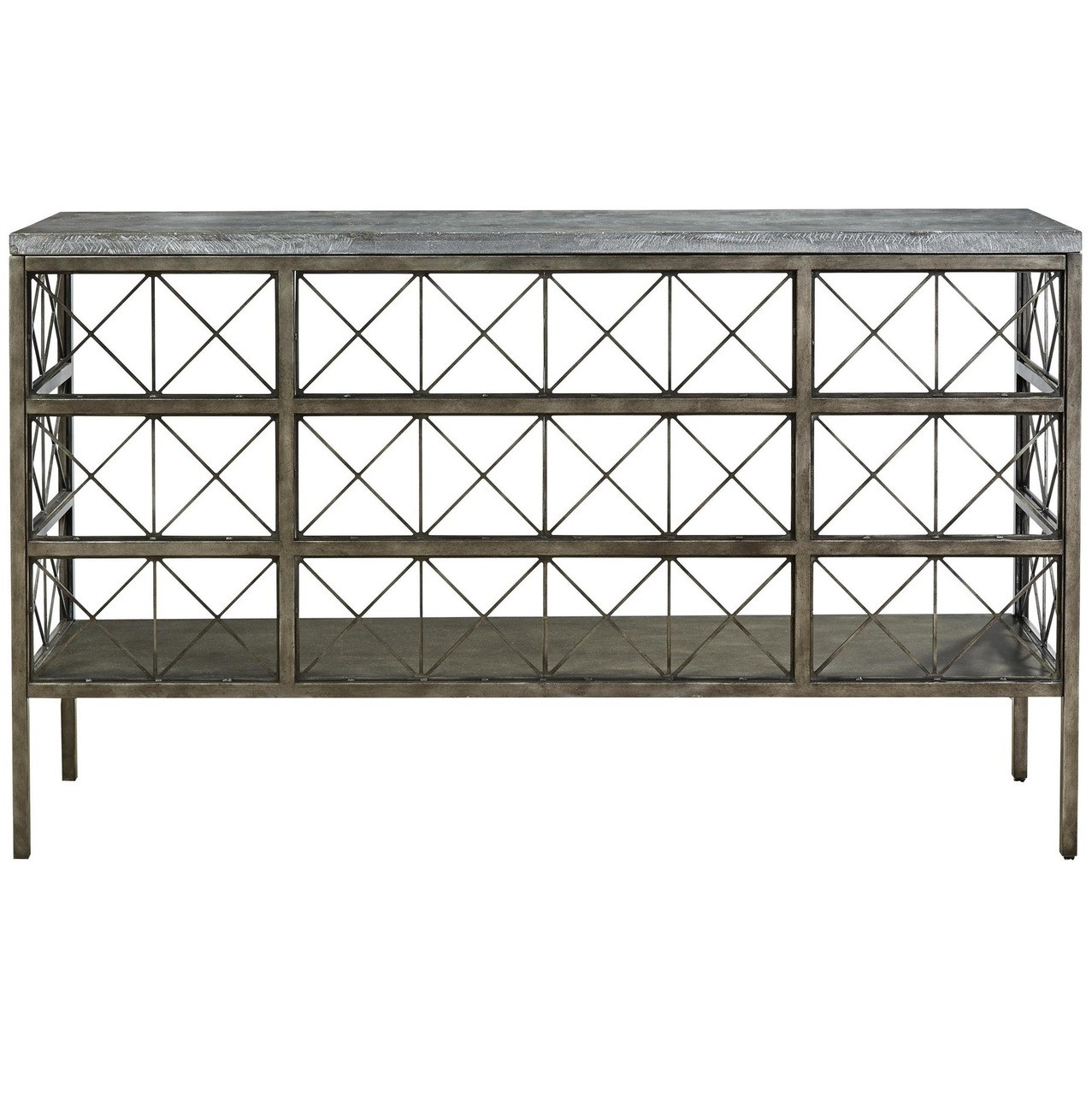 Sojourn French Industrial Bluestone Top Metal Console Table Zin Home