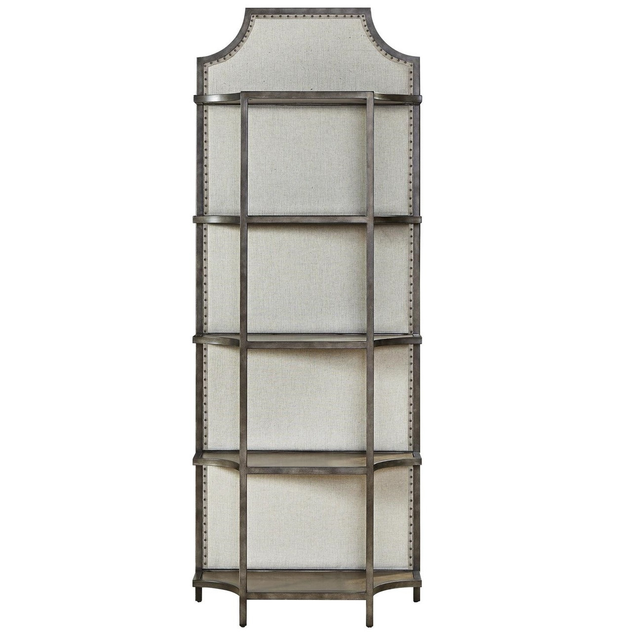 Sojourn French Industrial Upholstered Back Metal Etagere