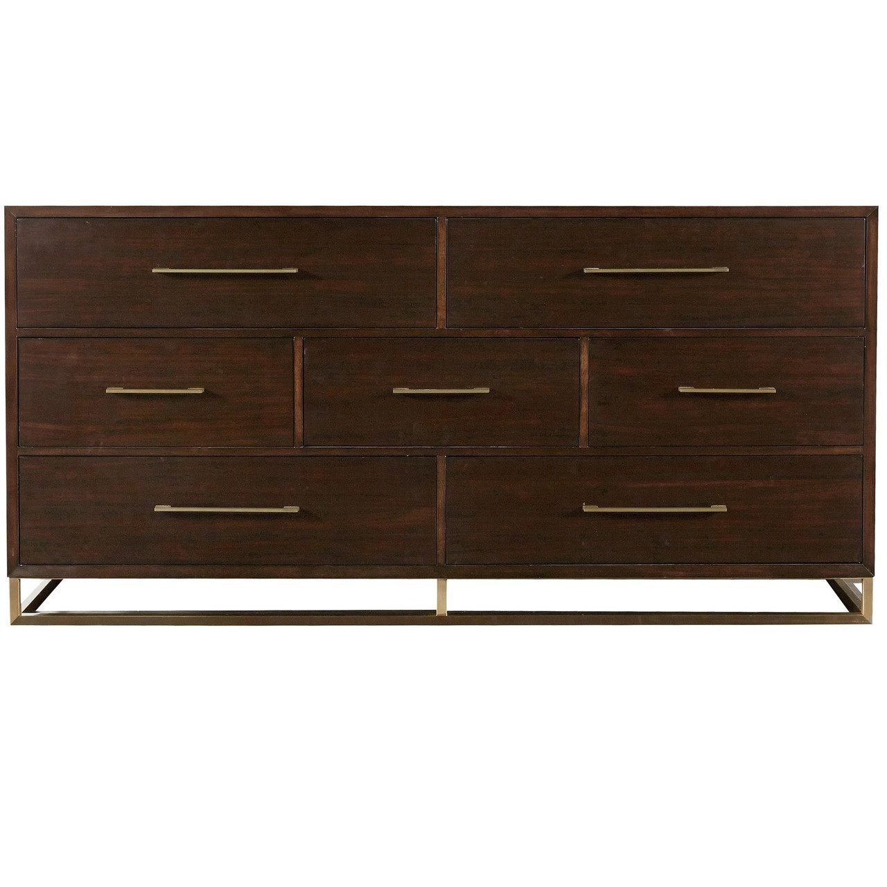 Gibson Modern Brushed Gold Mahogany 7 Drawer Dresser | Zin Home