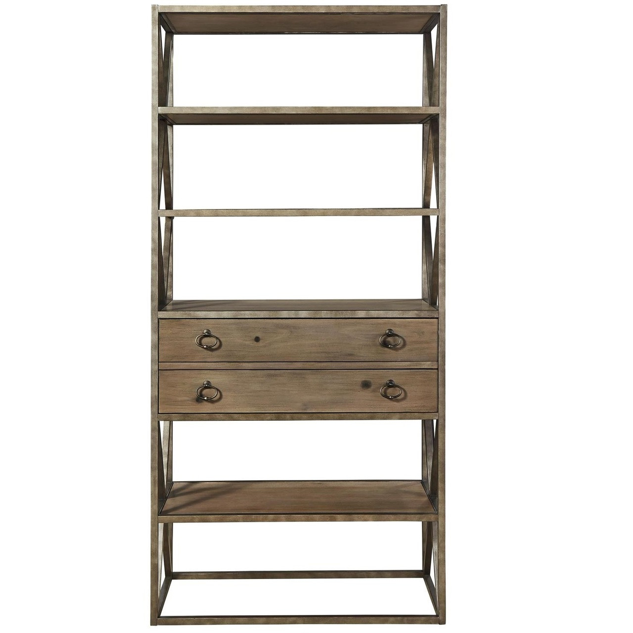 French Industrial Wood And Iron Etagere Bookcase With Drawers