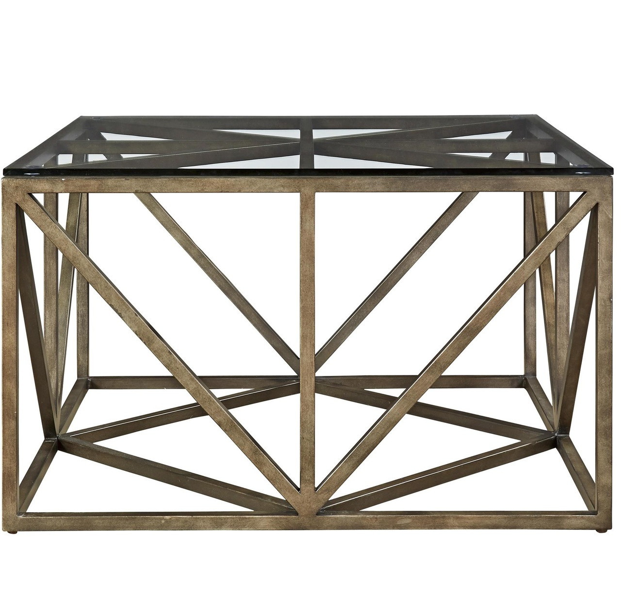- French Industrial Bronze Metal & Glass Top Square Coffee Table 32