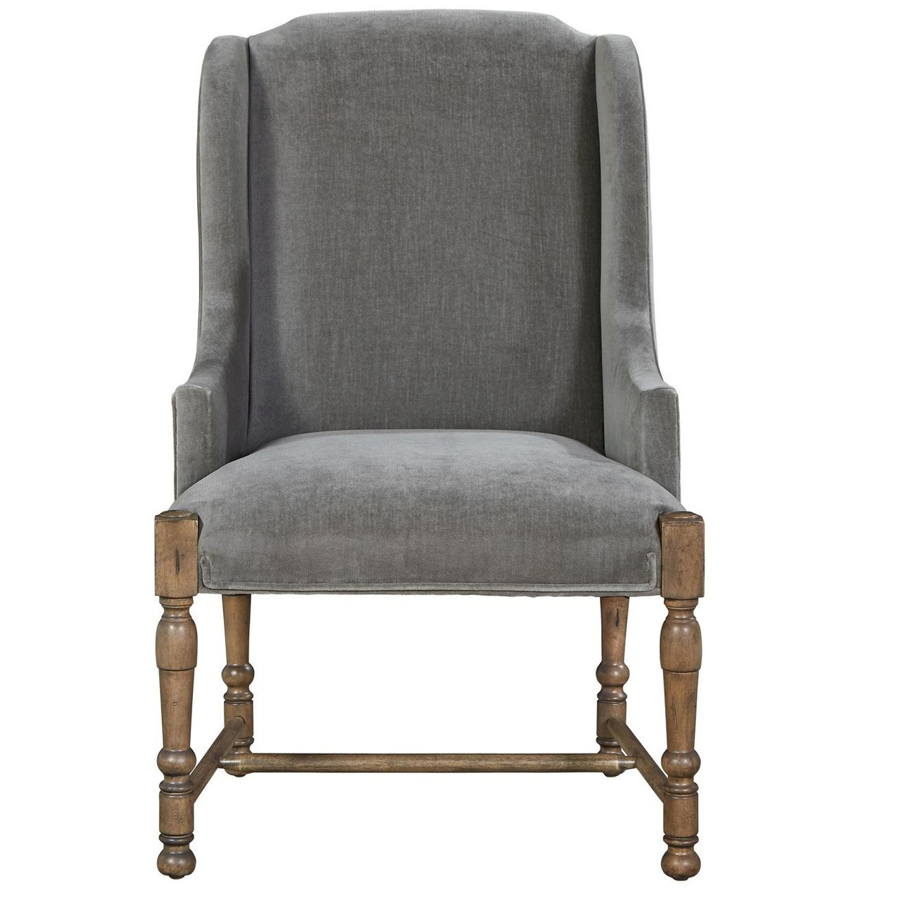 Etonnant French Country Gray Velvet Upholstered Host Arm Chair. Peachtree Arm Chair