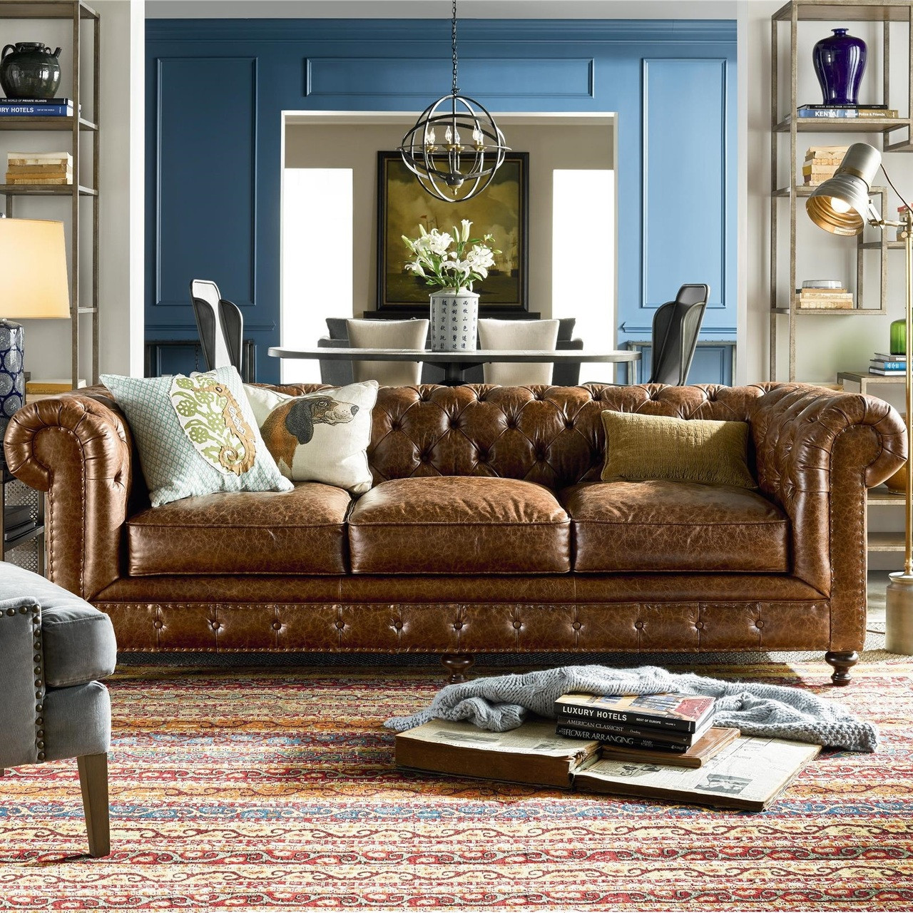 Belgian 3 Cushion Tufted Saddle Leather Chesterfield Sofa