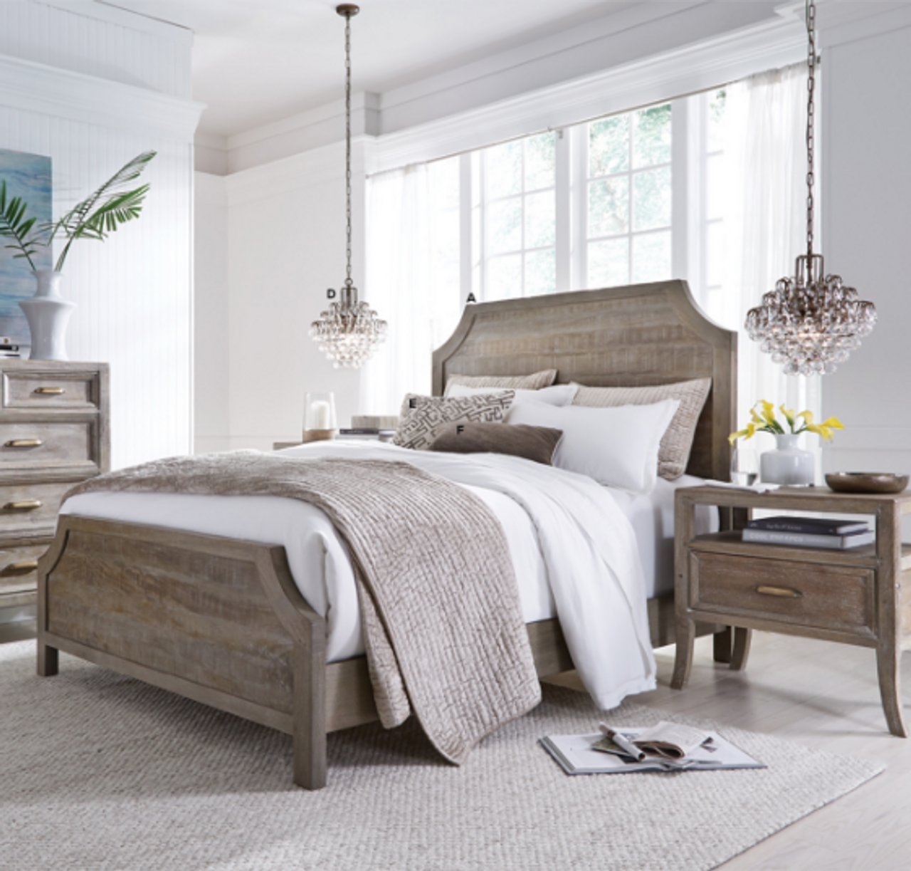 Amelie Solid Wood Queen Bed Frame Vintage Taupe Zin Home