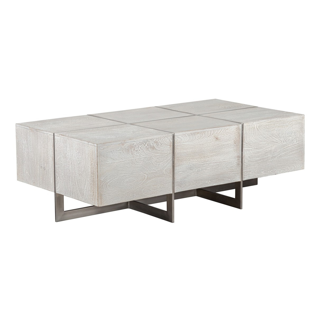 - Uptown Whitewashed Solid Wood + Iron Leg Coffee Table 54