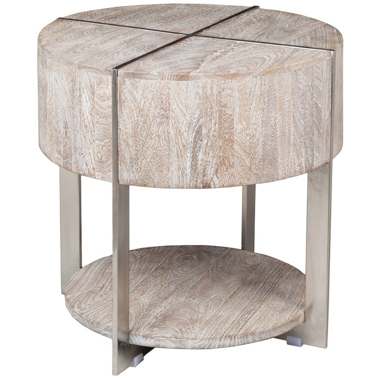 98b4ce39a1 Uptown Whitewashed Solid Wood Round End Table with shelf | Zin Home