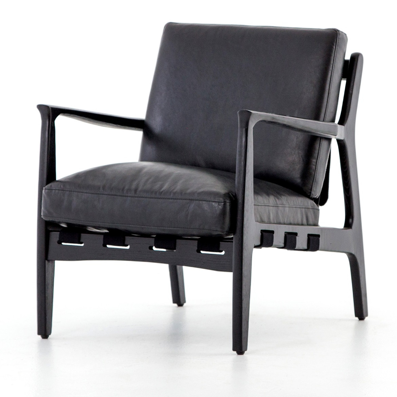 Silas Mid Century Modern Aged Black Leather Arm Chair Zin Home