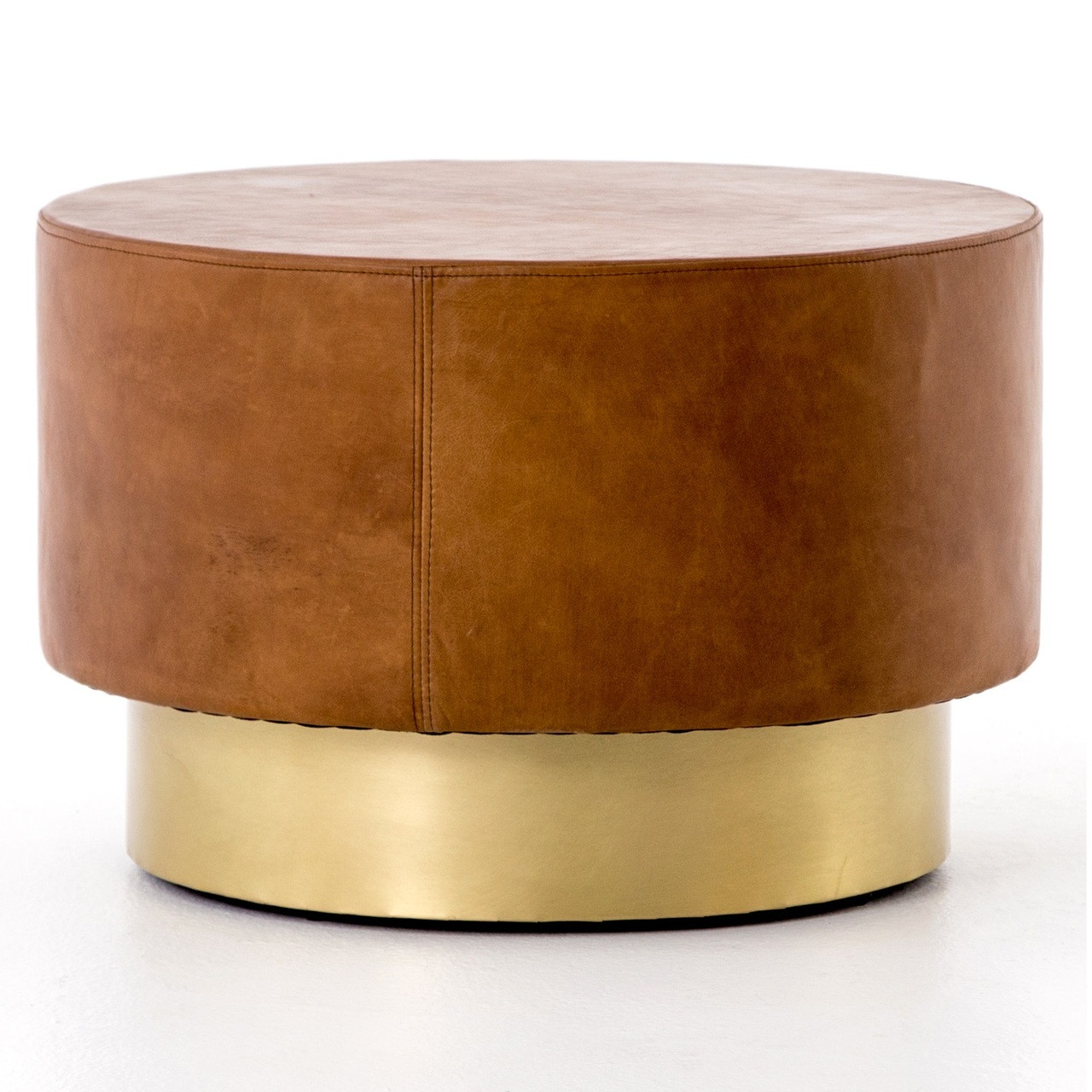 - Flint Patina Leather And Gold Round Bunching Table Zin Home