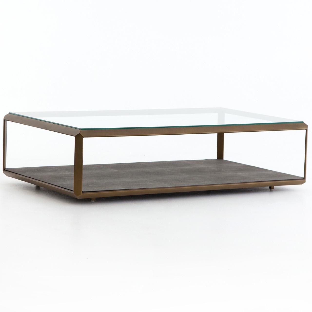 on sale 9441e 0f090 Hollywood Shagreen Shadow Box Glass Coffee Table - Brass