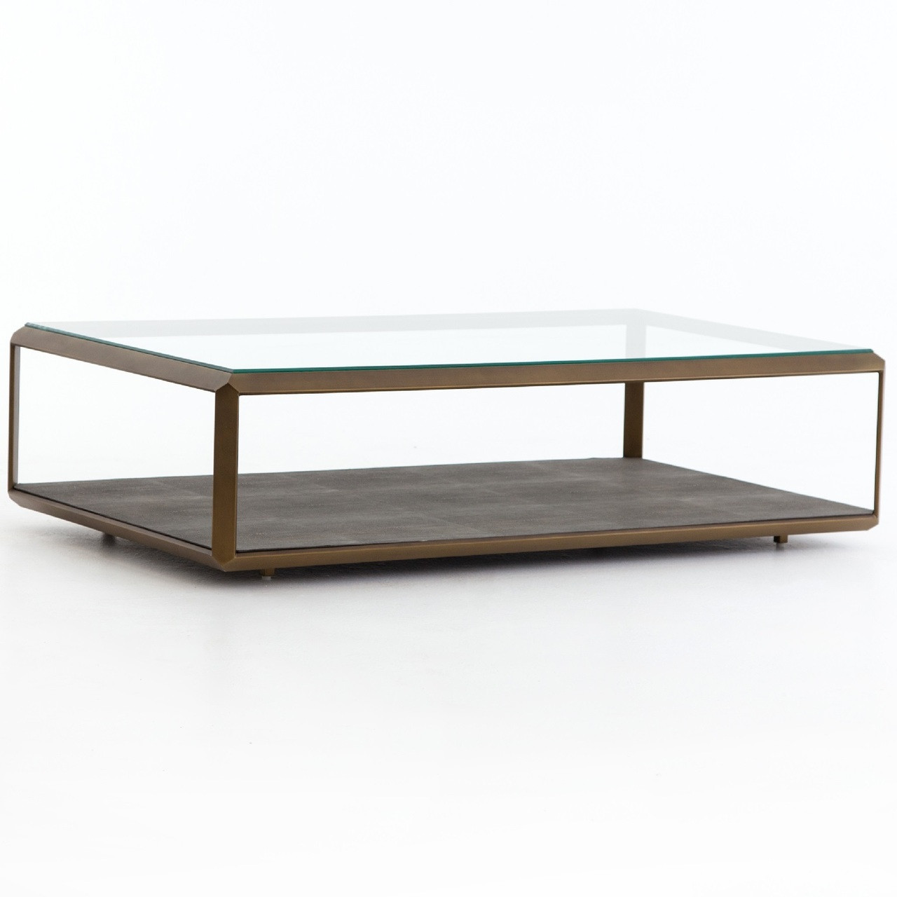 Shagreen Shadow Box Glass Top Coffee Tables Brass Zin Home