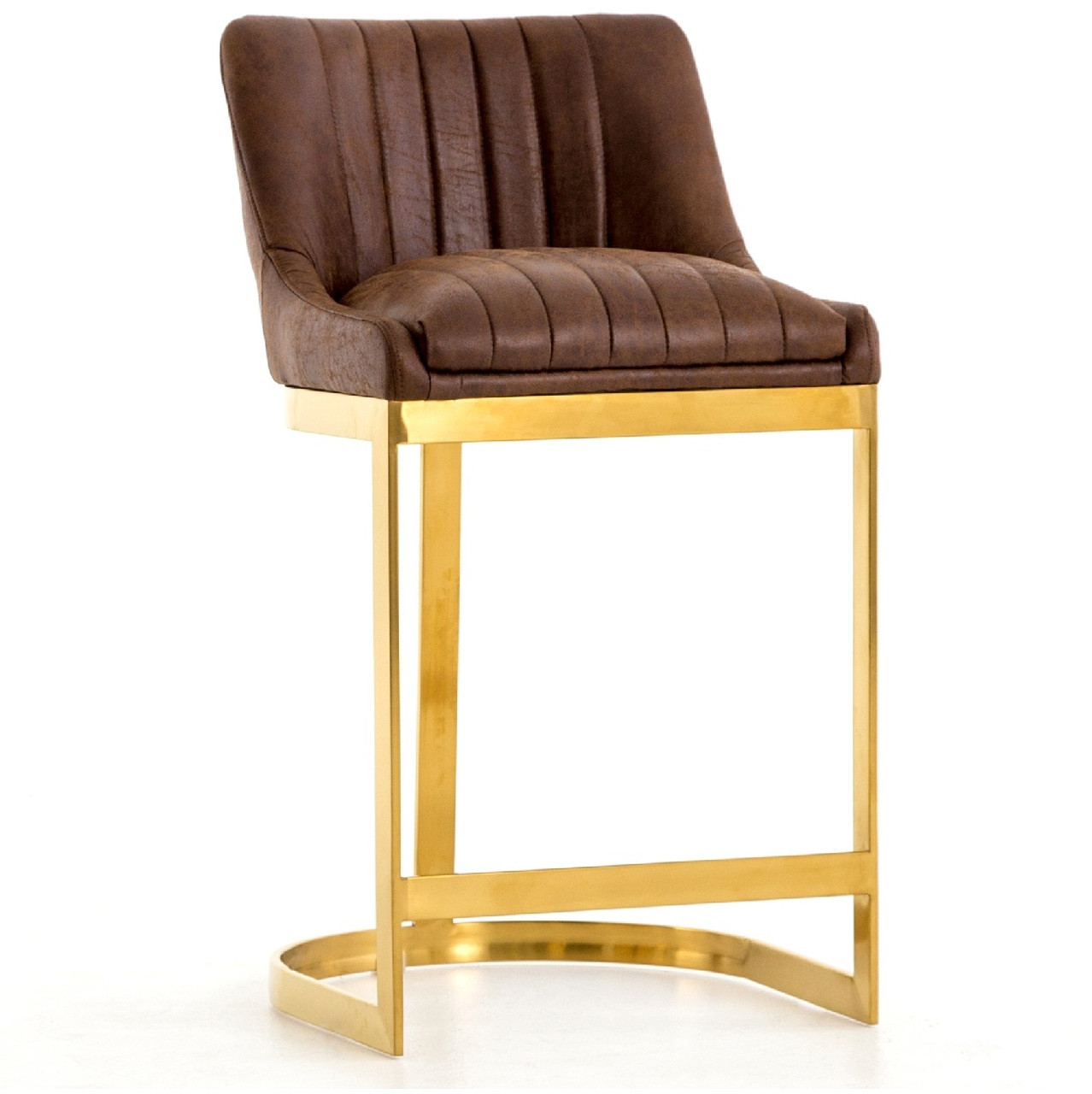 Rory tobacco leather gold counter stool