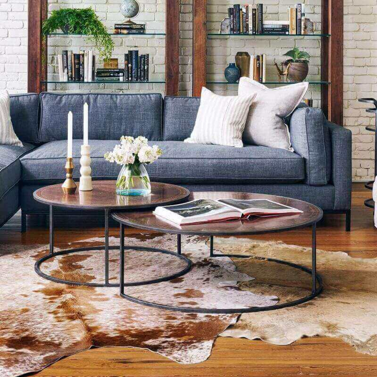Catalina Copper Clad Round Nesting Coffee Tables