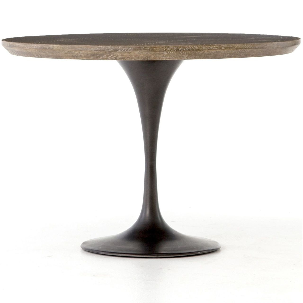 Aero Tulip Industrial Brass Clad Top Round Dining Table 42 Zin Home