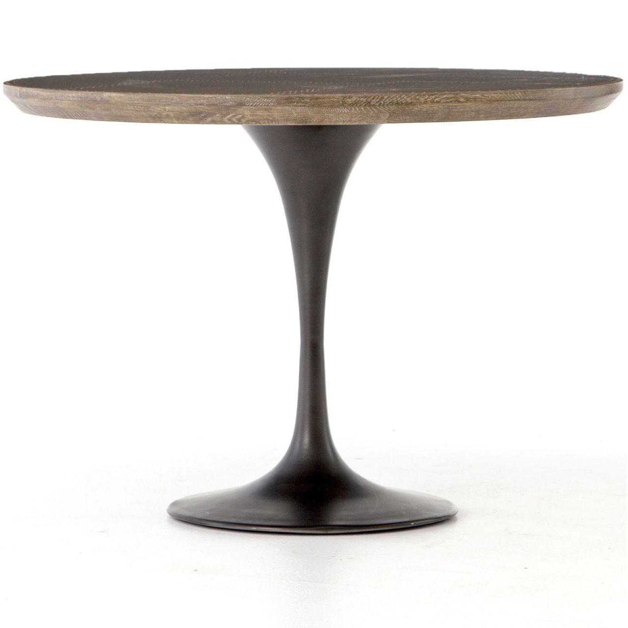 Aero tulip industrial brass clad top round dining table 42