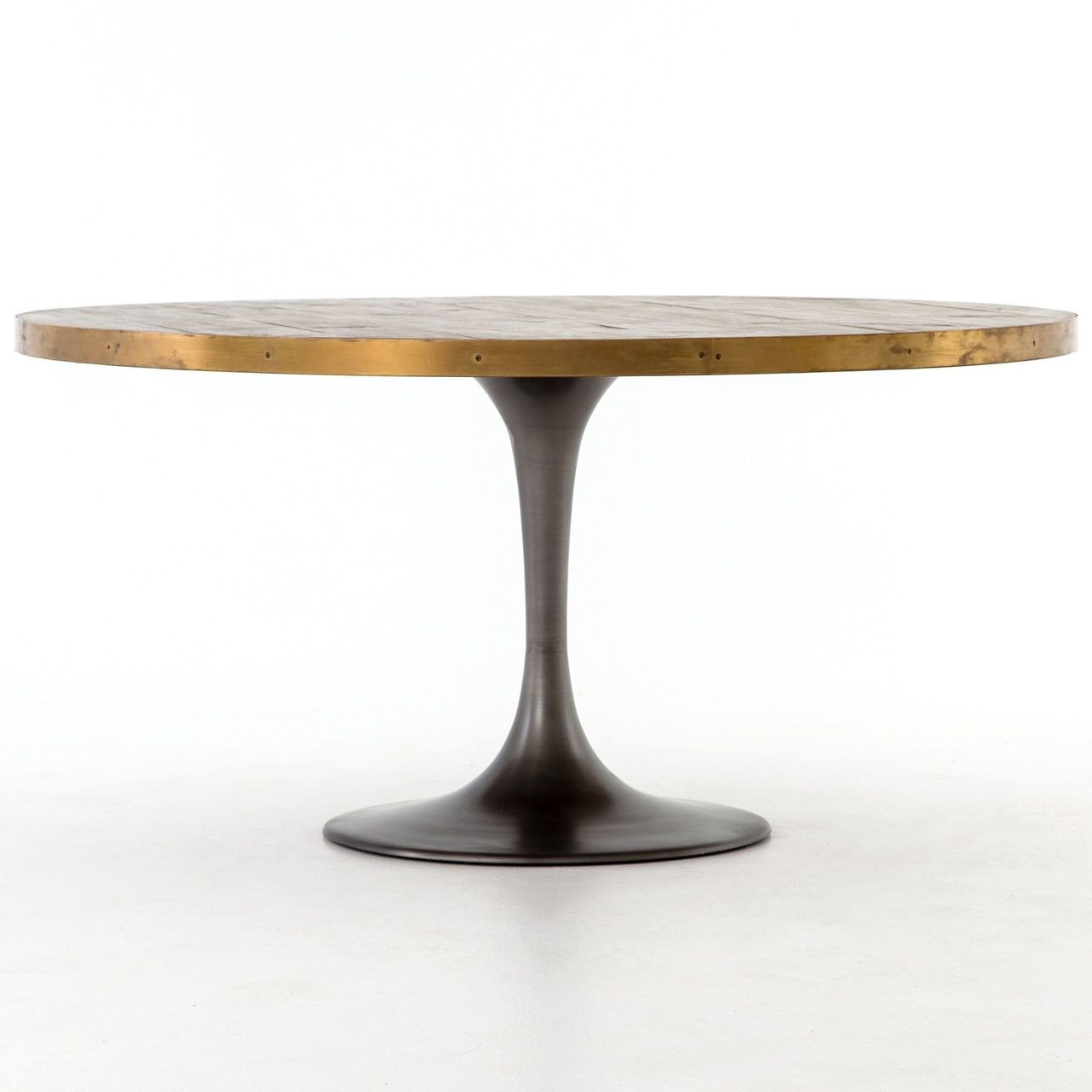 finest selection 8f3db b6f73 Evans Industrial Tulip Oak Wood Top Round Dining Table 60