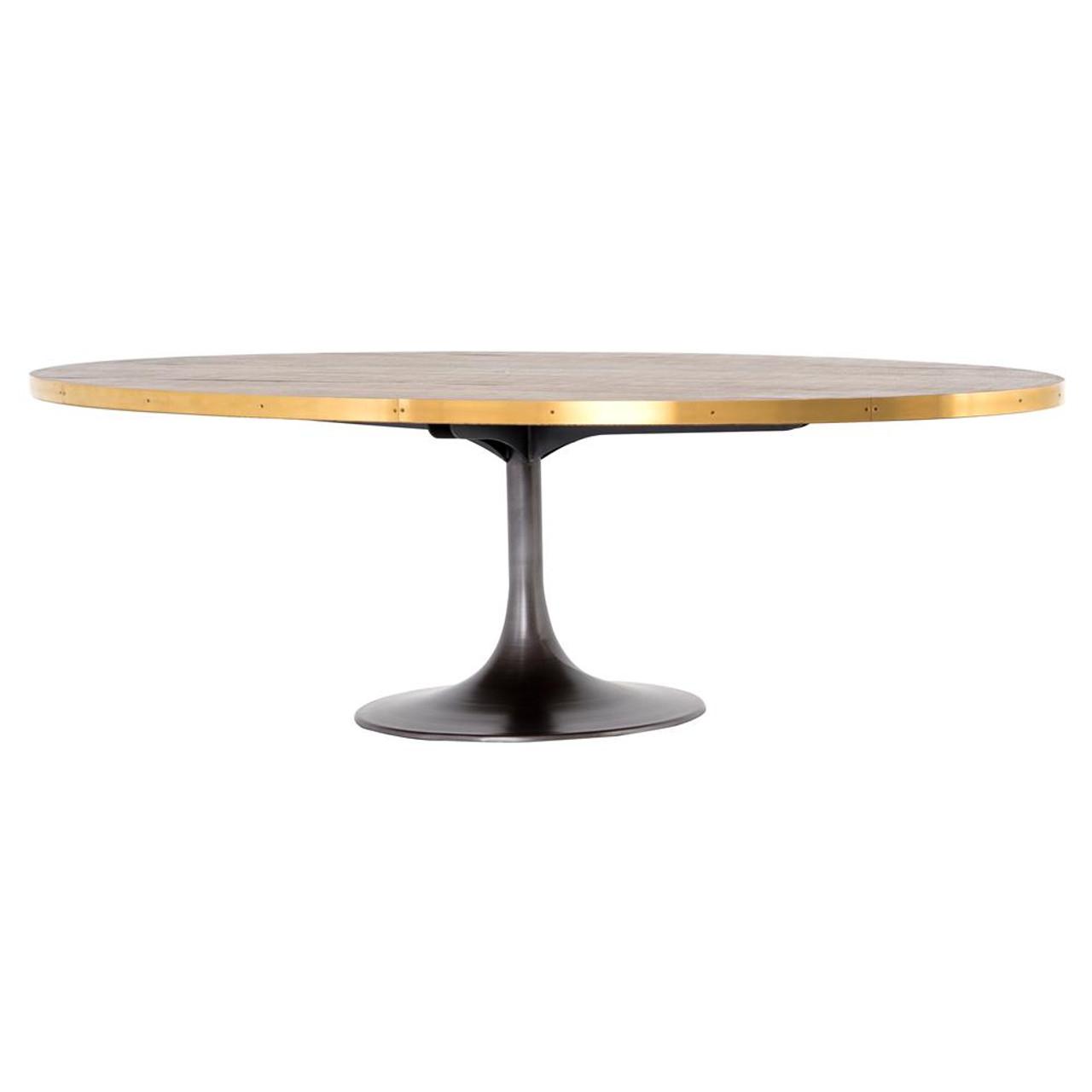 47056b87fd25 Evans Industrial Tulip Oak Wood Top Oval Dining Table 98