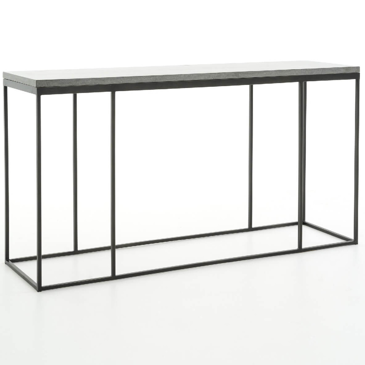 French industrial iron bluestone top console table 60 zin home