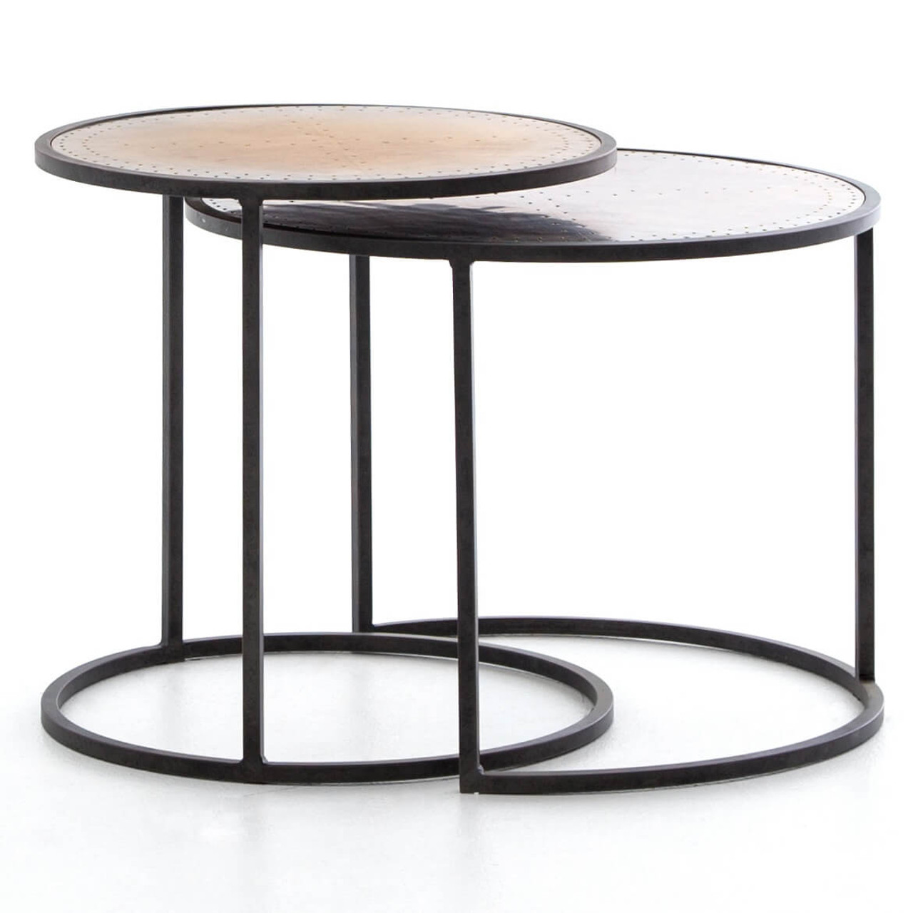 Aparte Side Table.Catalina Brass Clad Round Nesting Side Tables