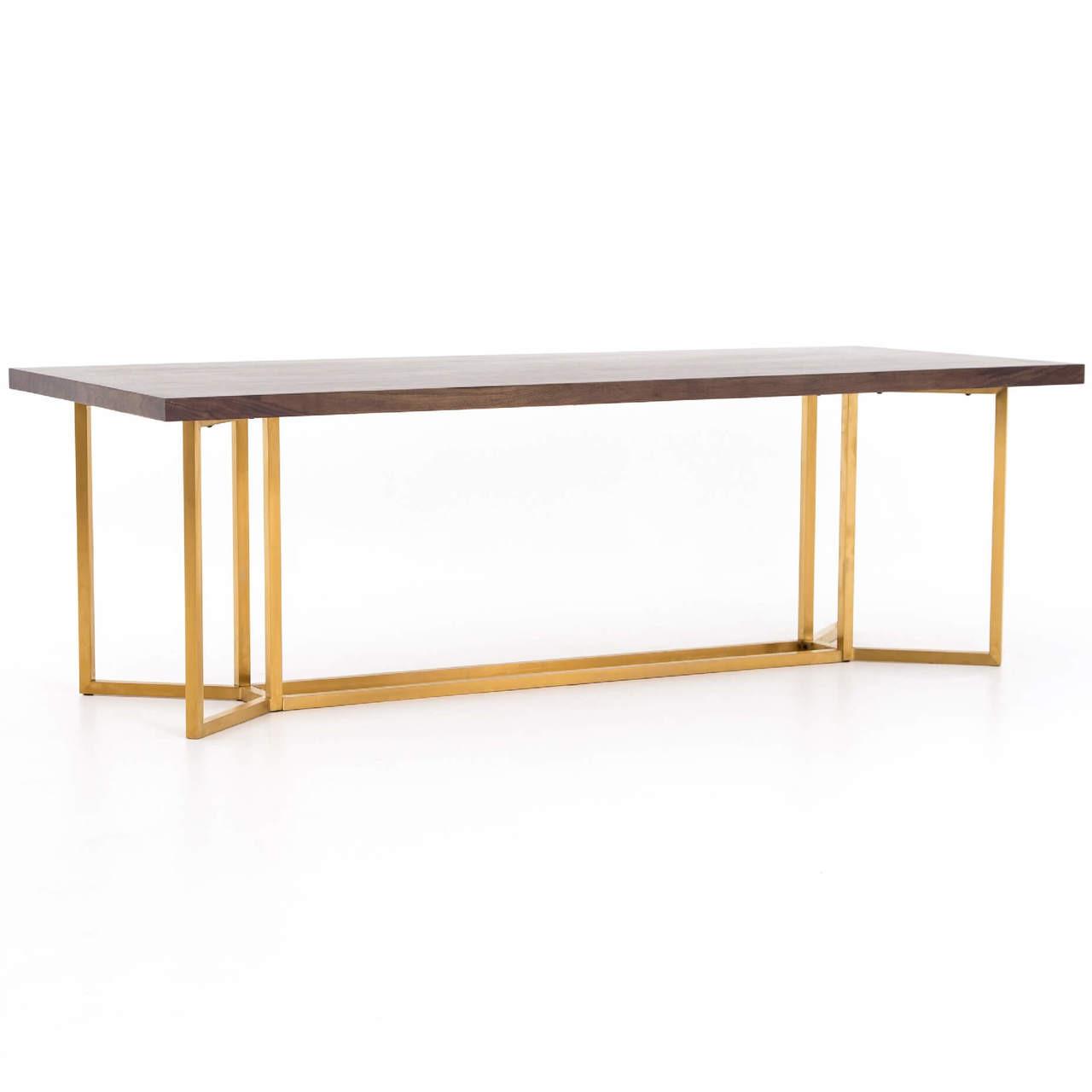 Phenomenal Bryant Polished Brass Leg Walnut Wood Dining Table 95 Interior Design Ideas Tzicisoteloinfo