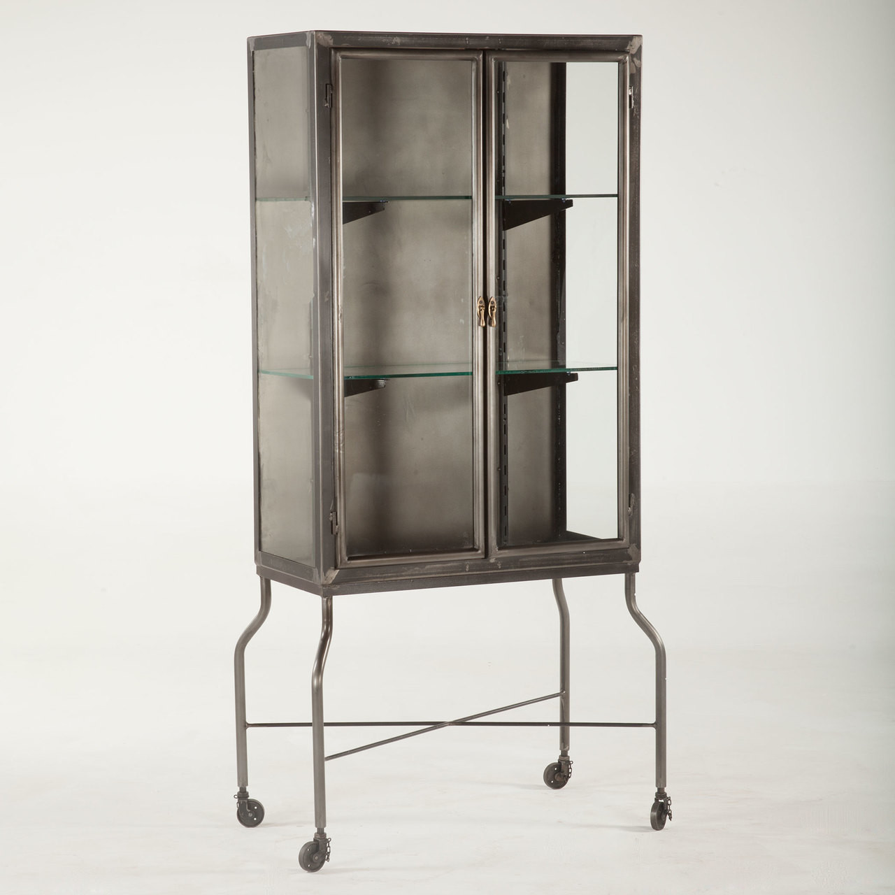 Steampunk Industrial Steel And Glass Medical Cabinet Zin Home