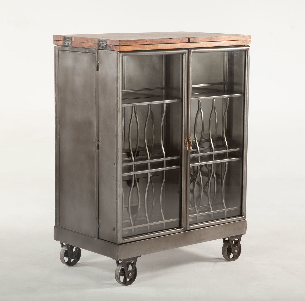 Steampunk Industrial Steel And Glass Bar Cart Cabinet Zin Home