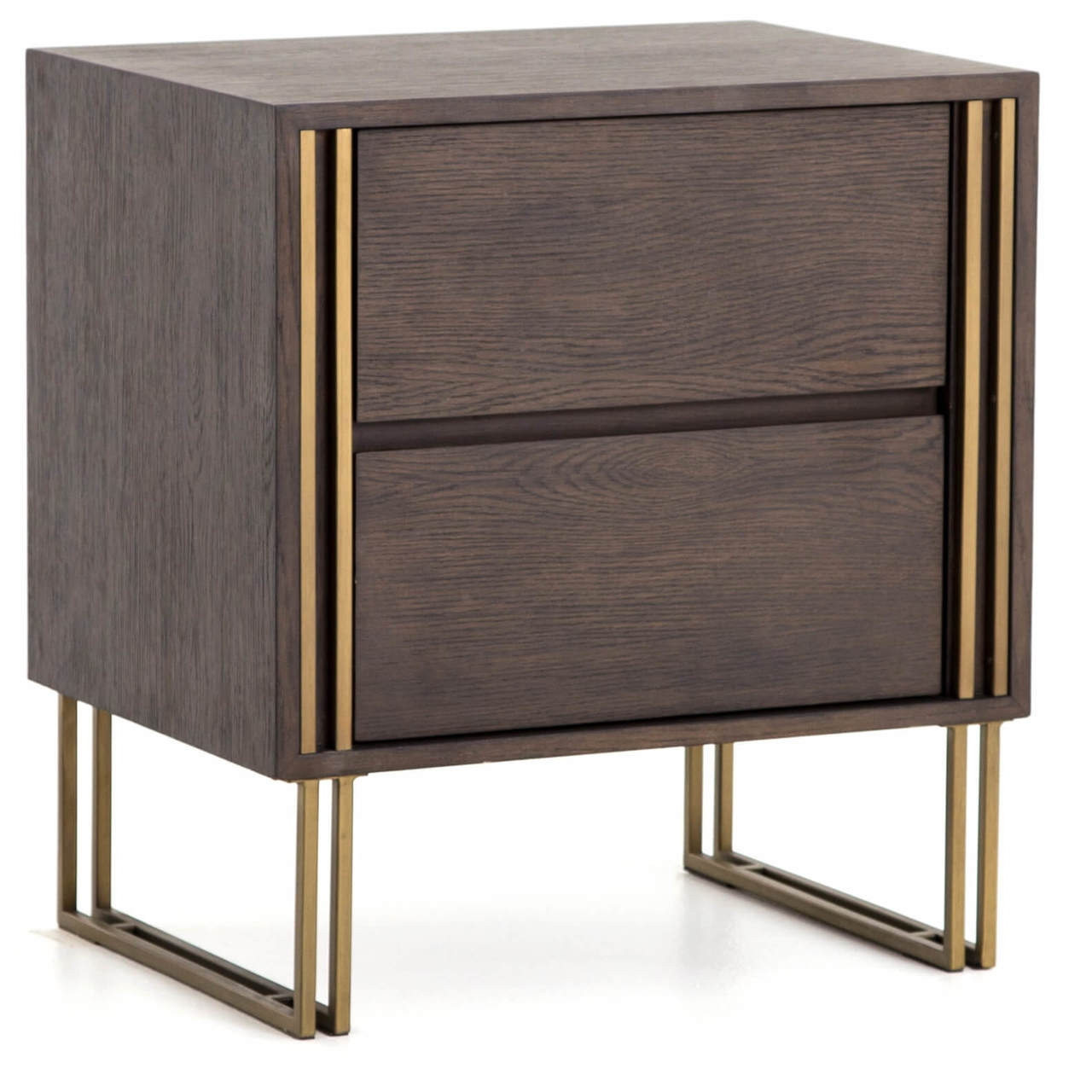 Samara Brass Black Oak Wood 2 Drawer Nightstand