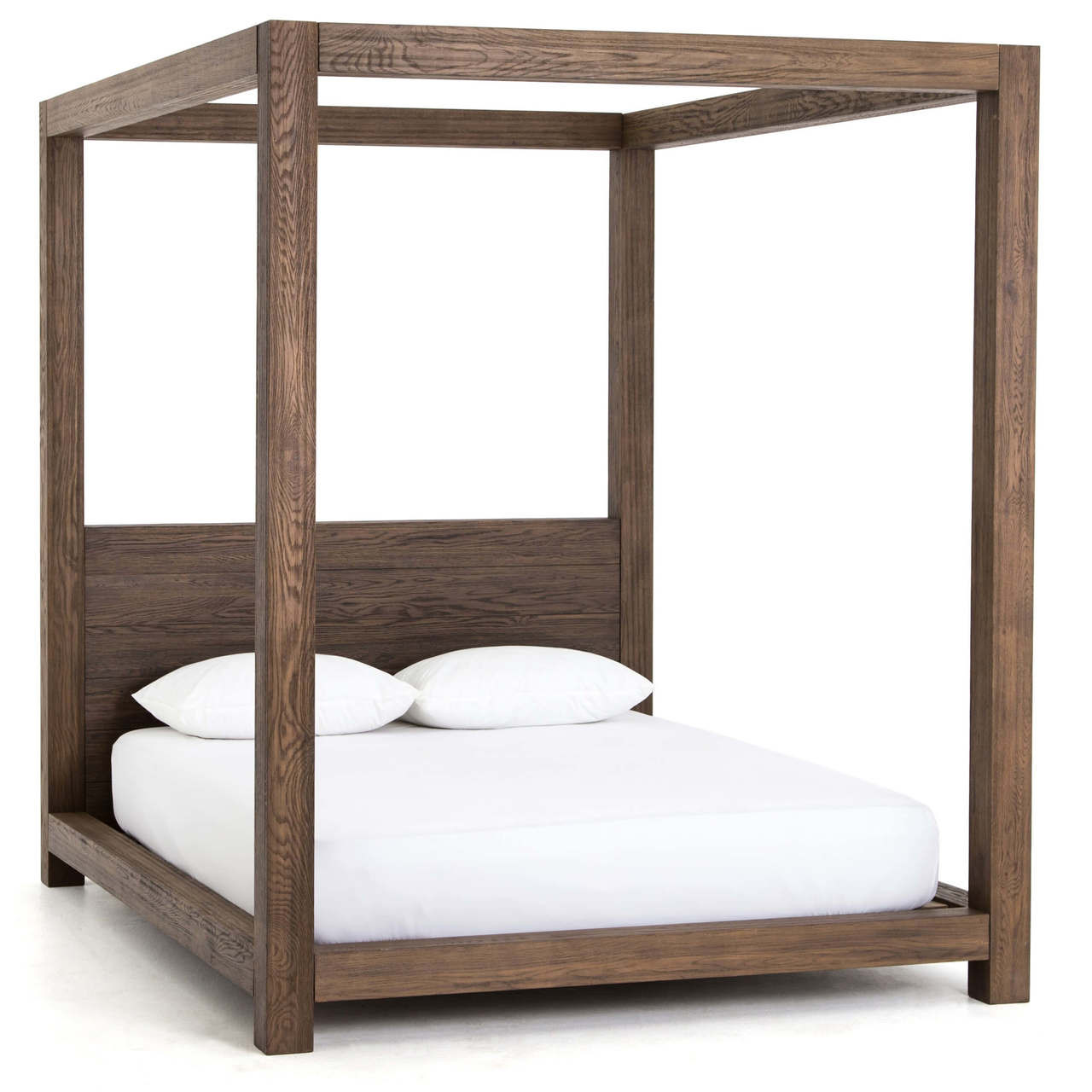 Cheap Modern Bed Frames: Williams Wood King Platform Canopy Bed Frame - Grey