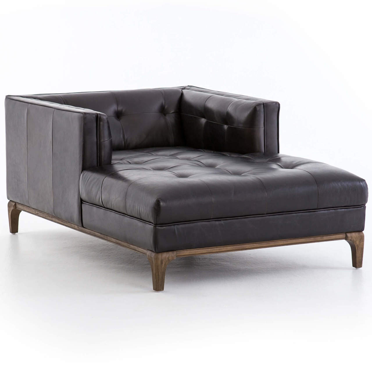 Dylan Mid Century Modern Black Leather Chaise Lounge Zin Home