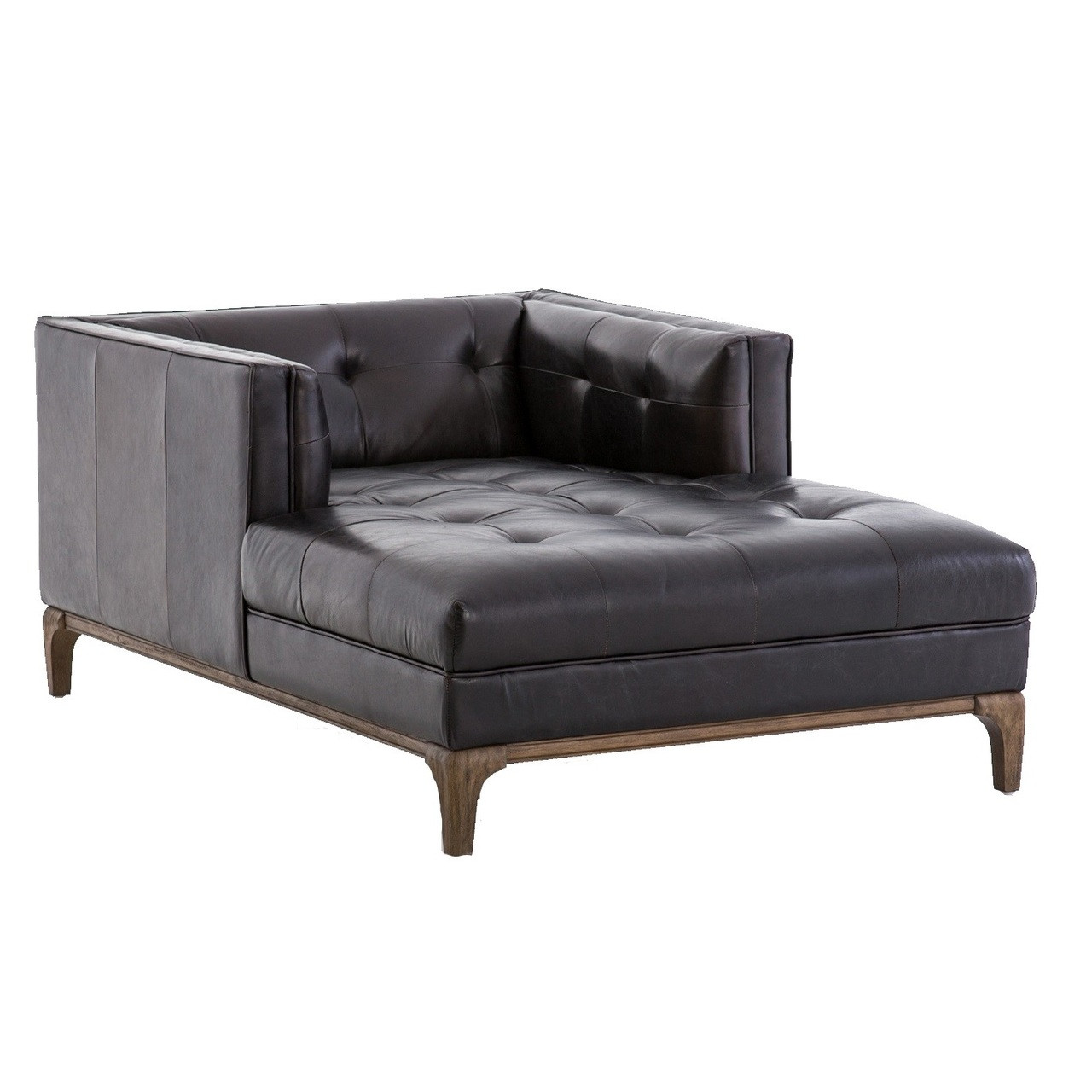 Dylan Mid-Century Modern Black Leather Chaise Lounge