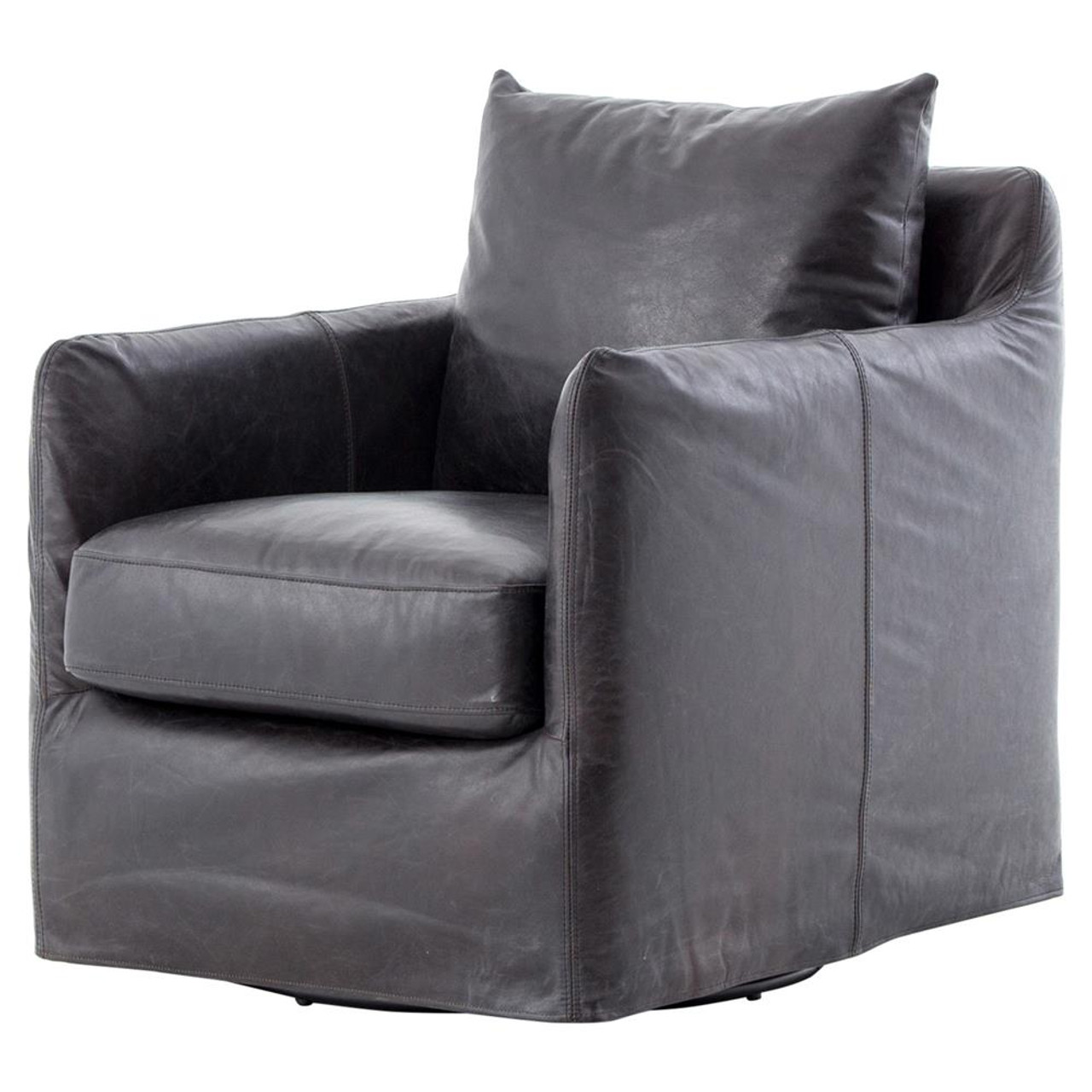 Picture of: Banks Slipcovered Black Leather Swivel Club Chair Zin Home