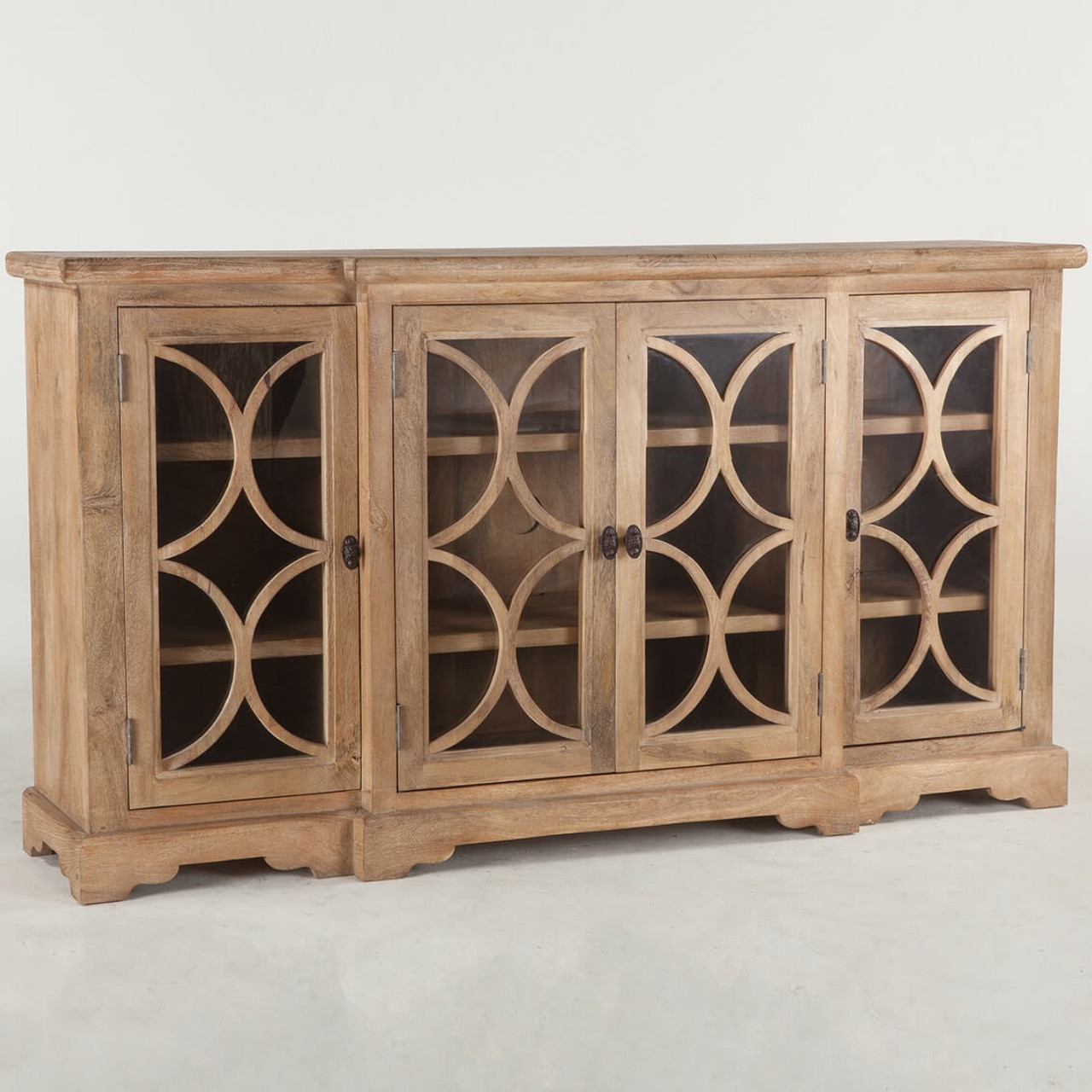French Farmhouse Solid Wood 4 Door Credenza Cabinet 75