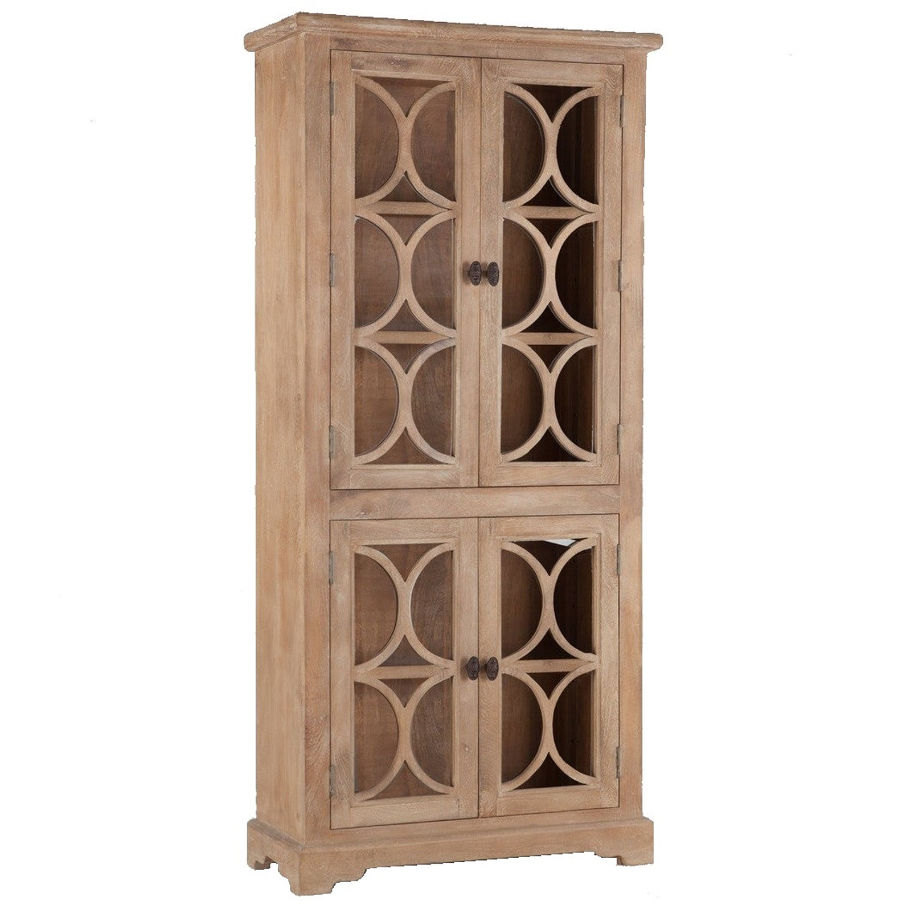 French Farmhouse Solid Wood Display Cabinet With Glass Doors Zin Home