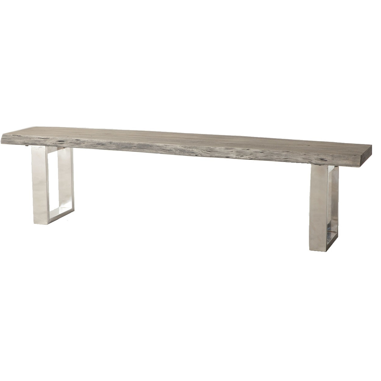 Wondrous Modern Live Edge Wood And Stainless Steel Bench 68 Gmtry Best Dining Table And Chair Ideas Images Gmtryco